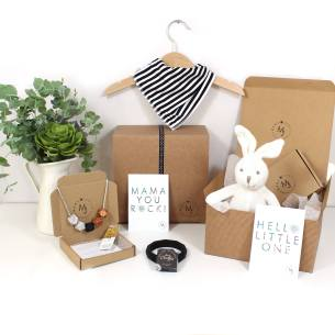 MONOCHROME HAMPER BUNNY 1 - Funky Monochrome print Mama and baby gift hamper set for baby girl or boy