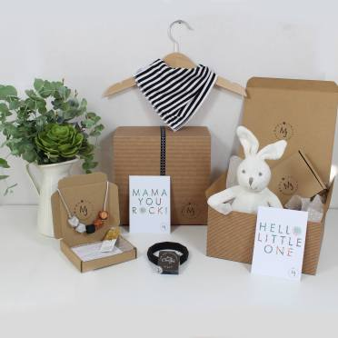 MONOCHROME HAMPER BUNNY - Funky Monochrome print Mama and baby gift hamper set for baby girl or boy