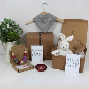 PURPLES BUNNY HAMPER 1 - Purples Mama and baby gift hamper set for baby girl or boy