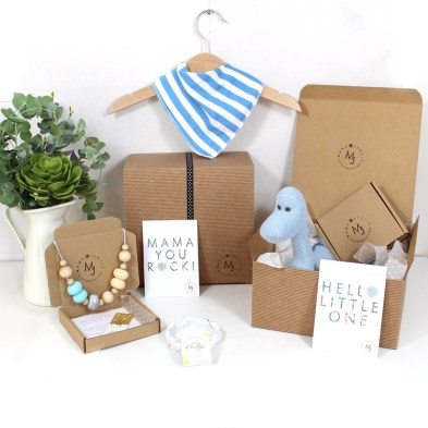 BLUE DINO BLUE NECKLACE - Mum and baby gift hamper set for baby boy blue dinosaur