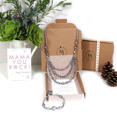 Celine gift set 1 - Celine teething Nursing Breastfeeding fiddle necklace and bracelet silver gift set