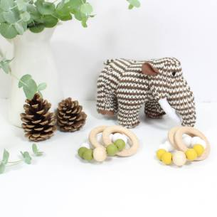 MAMMOTH AND TEETHER GIFT BOX FOR BABY - Baby knitted mammoth and personalised teething toy gift box set for baby