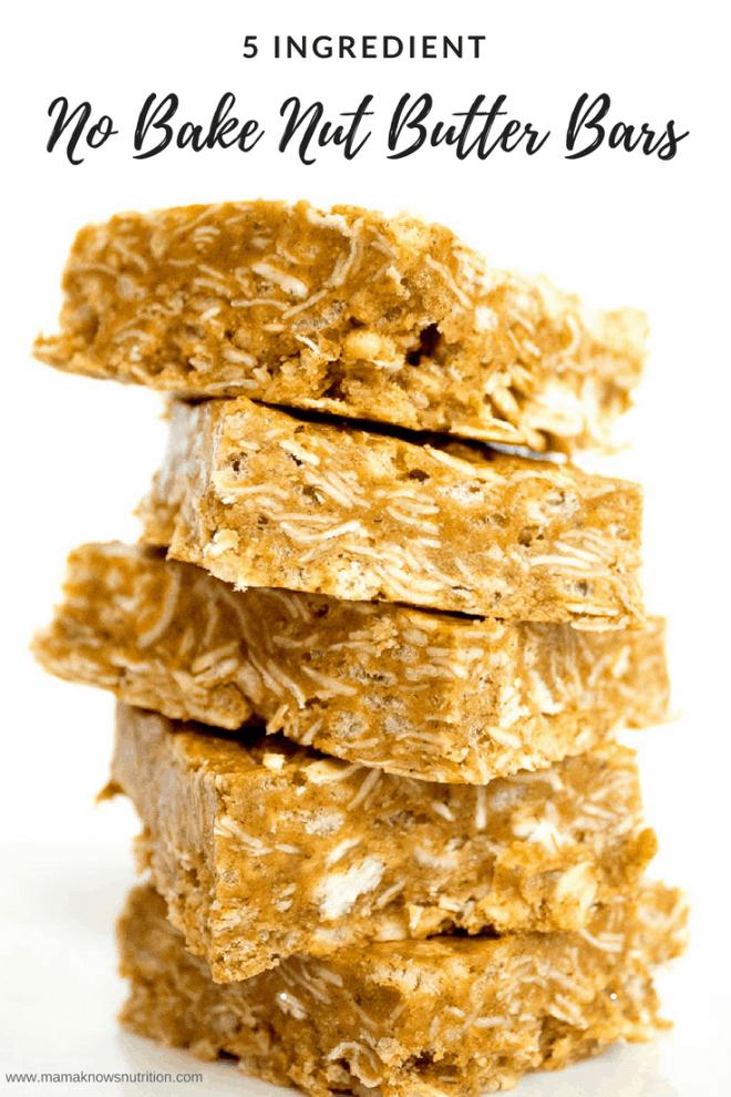 No Bake Nut Butter Bars | mamaknowsnutrition.com