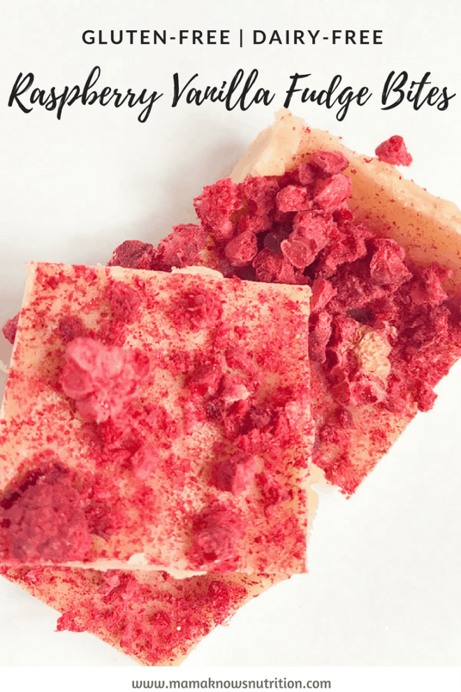 Raspberry Vanilla Fudge Bites | mamaknowsnutrition.com
