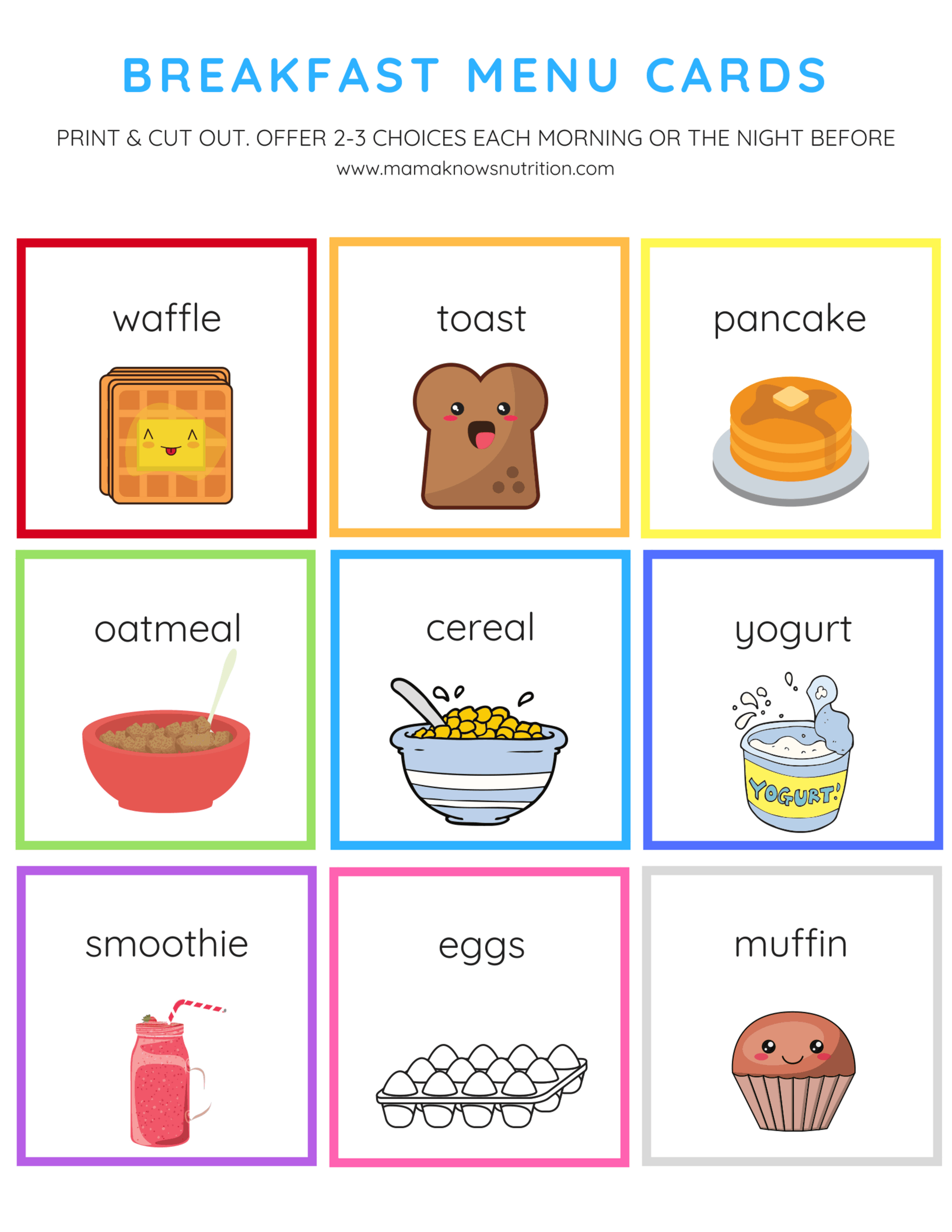photo about Printable Menu Cards identify Breakfast Menu Playing cards for Infants and Preschoolers