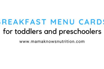 Breakfast menu cards