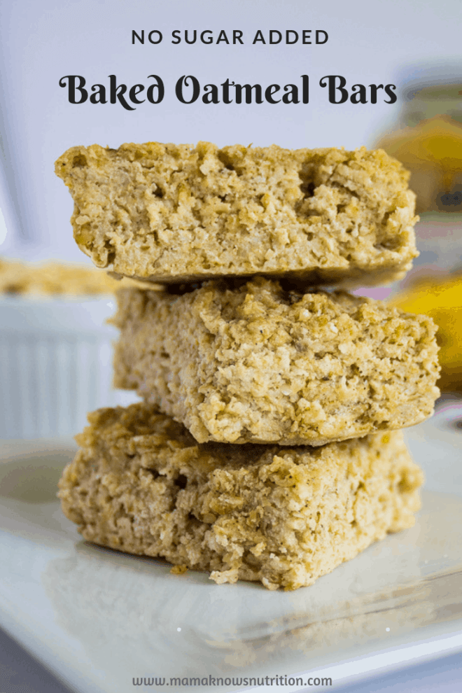 No Sugar Added Oatmeal Bars | mamaknowsnutrition.com