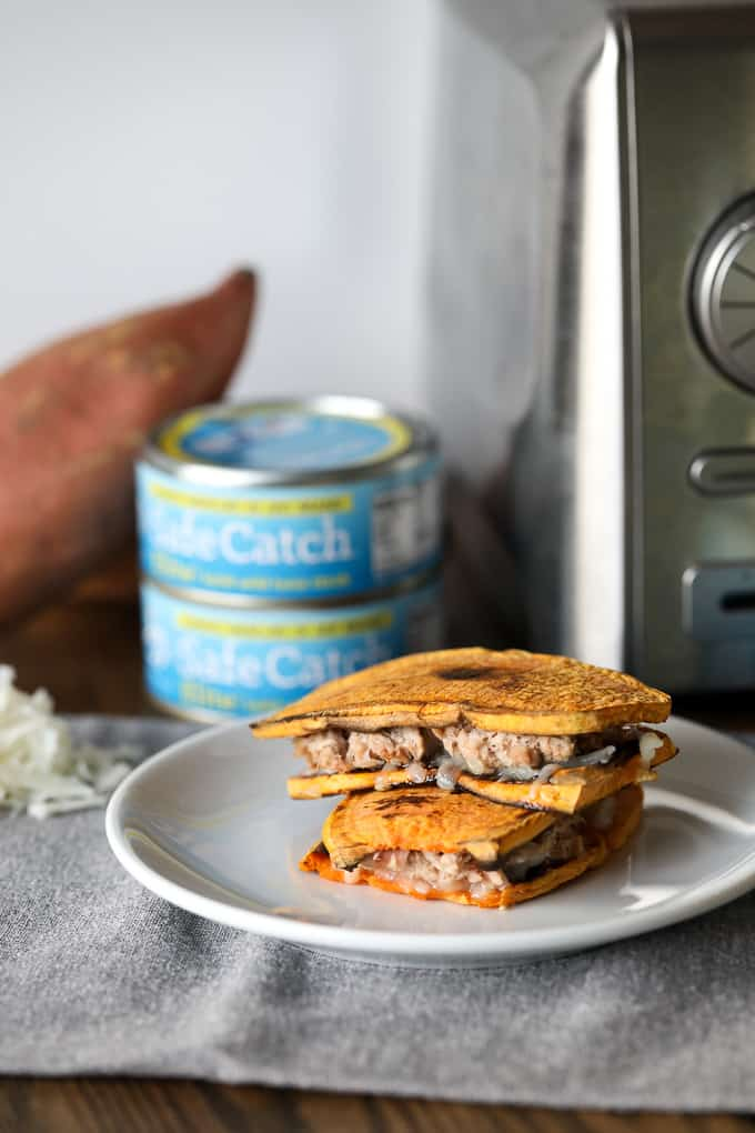 Sweet Potato Toast Tuna Melt by LittleBitsOf.com