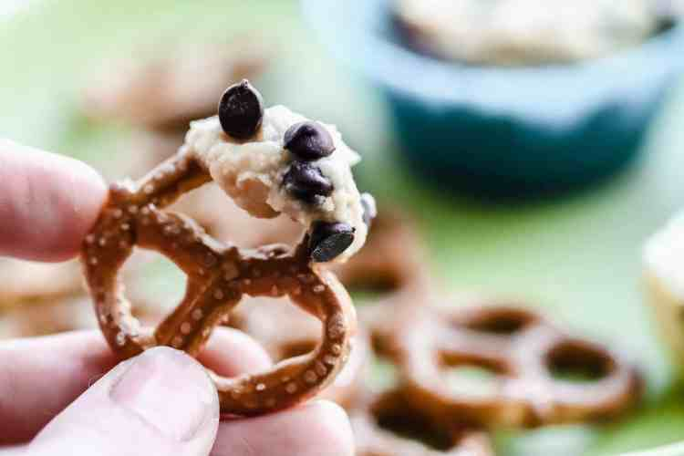 cookie dough dip with pretzels
