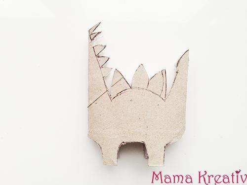 Dinos basteln mit Kindern Dinosaurier aus Klopapierrolle