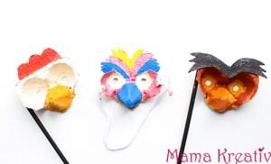 Osterbasteln: Vogelmasken aus Eierkarton +Video