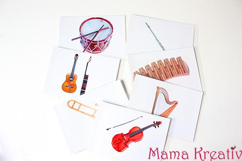 Lernkarten Bilderkarten mit musikinstrumenten kostenlos runterladen