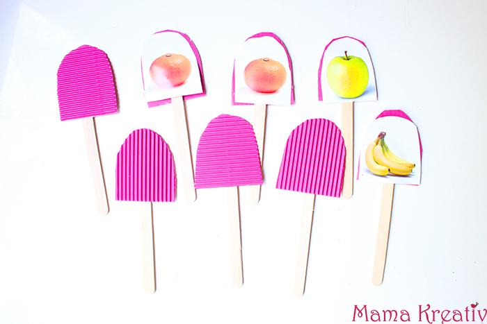 Memory Spiel für Kinder selber machen Eis Obst Memory am Spiel