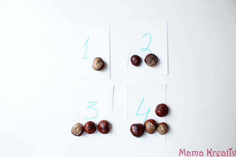 Basteln mit Kastanien für Kinder: Zahlen lernen mit Kastanien