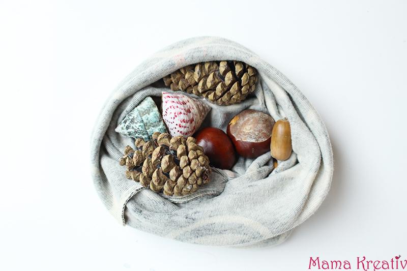 Fühlsäckchen mit Naturmaterialien Montessori