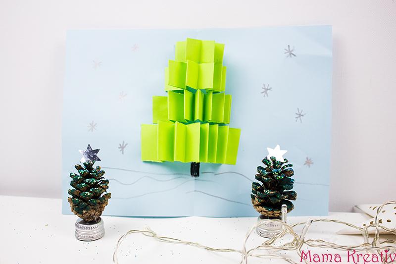 weihnachtskarten basteln mit kindern pop up karte weihnachtsbaum