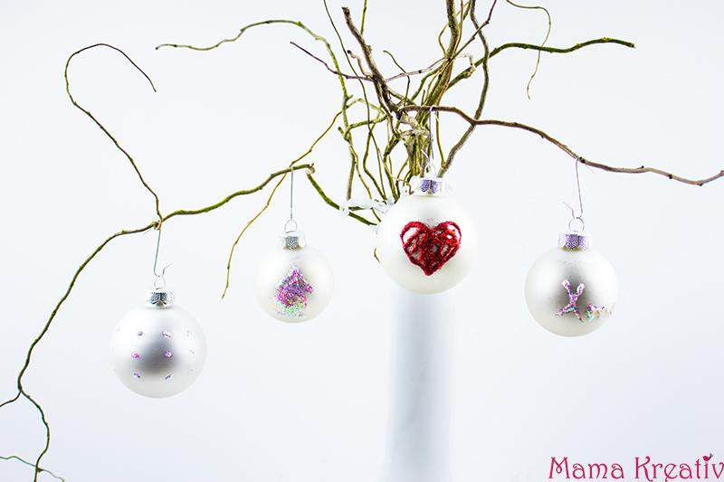 weihnachtsbaumkugeln basteln verschönern