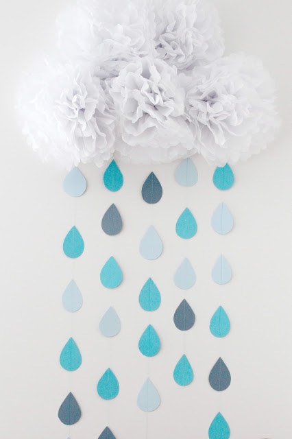 Baby shower cloud paper drops