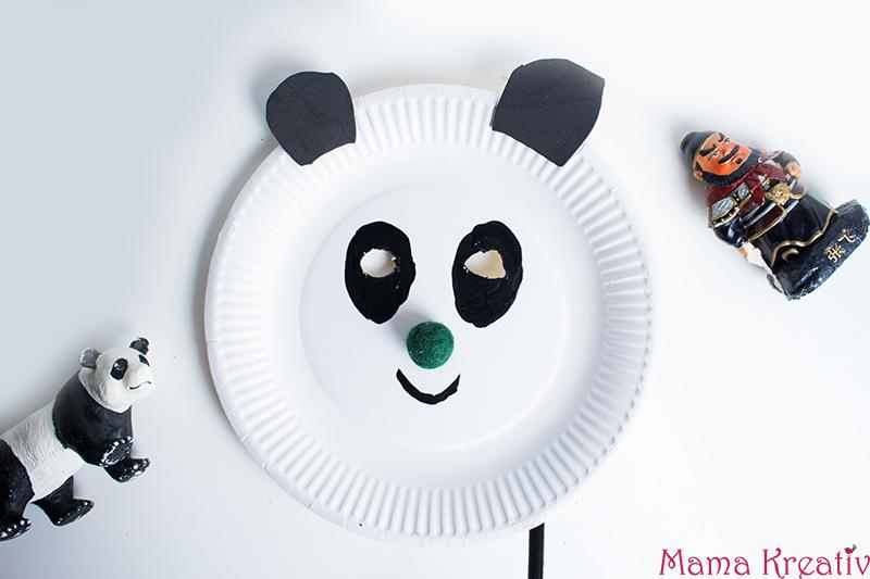 China basteln mit kindern chinesische panda maske