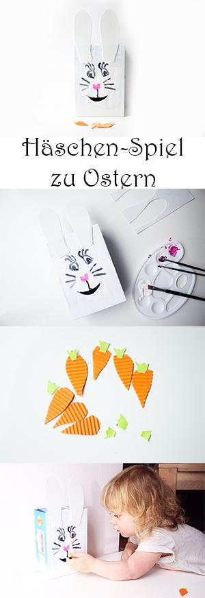 Basteln mit Kindern zu Ostern. Häschen Spiel selber machen