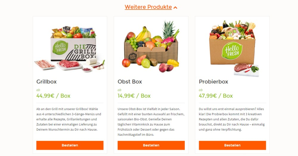 Kochboxen von HelloFresh Obstbox Grillbox