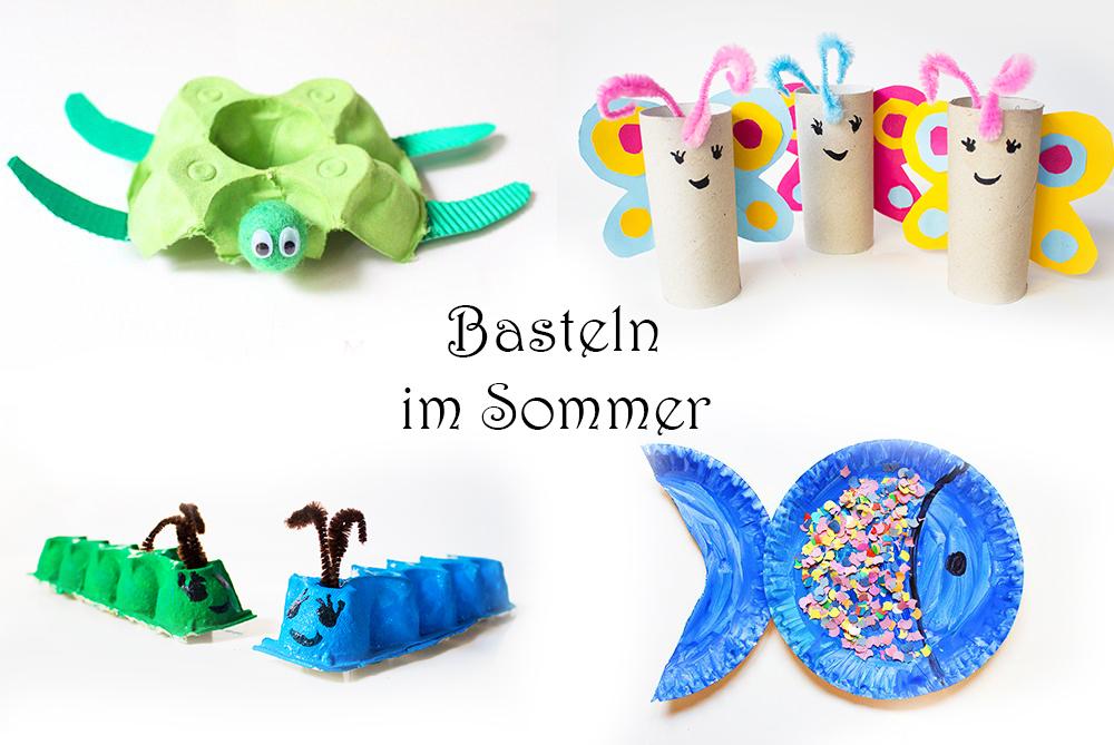 Basteln mit Kindern im Sommer - 20 einfache Ideen - Schmetterling, Fisch, Schildkröte, Krokodil, Tiere