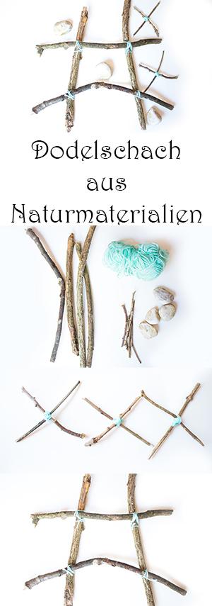 Basteln im Herbst mit Kindern - Dodelschach aus Naturmaterialien - DIY Tic Tac Toe Spiel