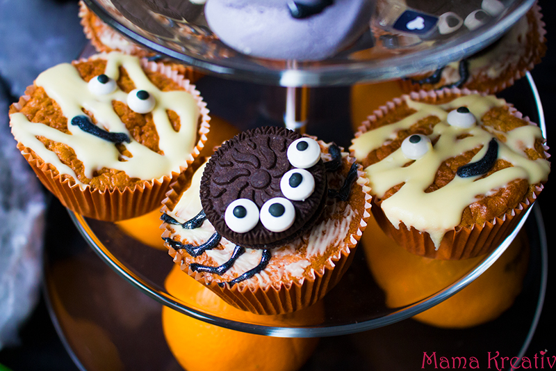 Halloween Party Rezepte Spinnen Mumien Muffins