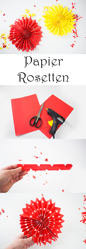 DIY Fasching Deko Basteln mit Kindern - Papier Rosetten