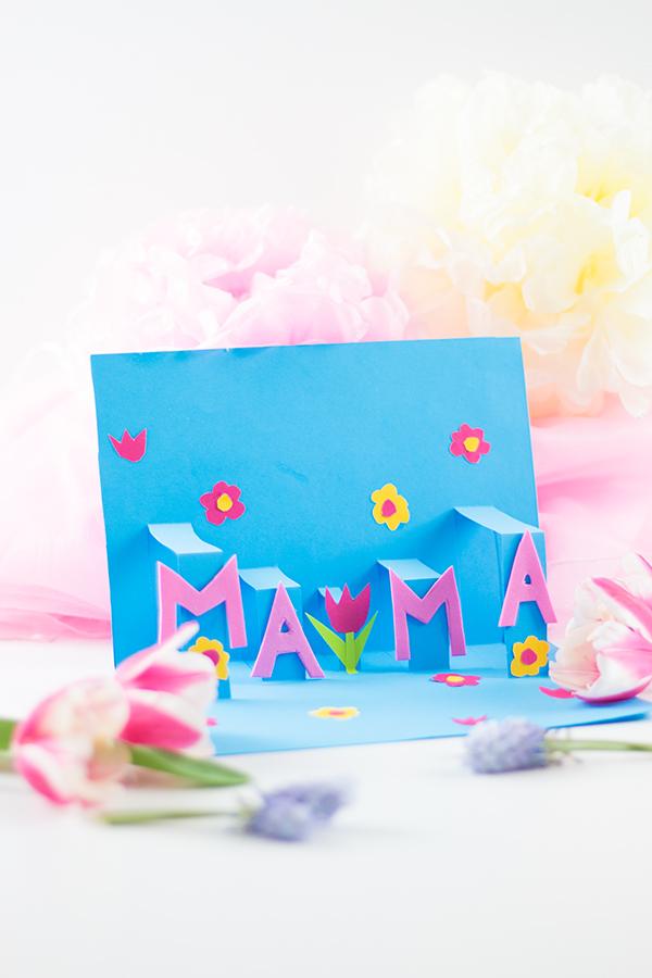 Pop-Up Muttertagskarte basteln schnell und einfach