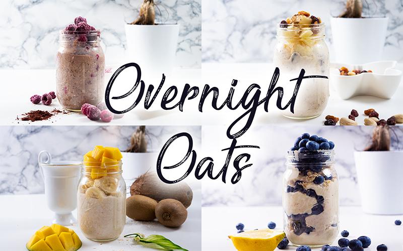 overnight oats rezept selber machen schnell und einfach mit banane chia himbeeren blaubeeren mango apfel ideen toppings auf deutsch