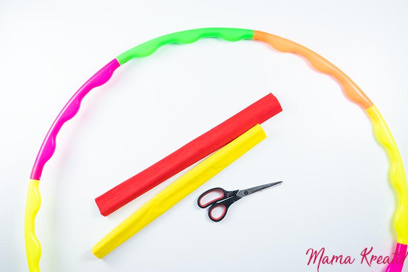 Basteln Fasching - Feuerreifen basteln - Spiele und Bastelideen für Fasching - Basteln mit Kindern - DIY Spiele selber machen