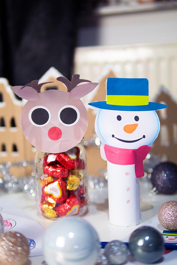 Basteln mit Kindern zu Weihnachten mit Vorlagen Schneemann und Rentier