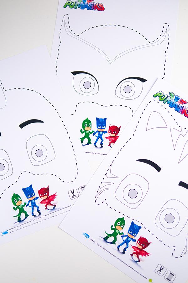 PJ Masks Masken basteln Ausmalbild - PJ Masks Party Ideen: Basteln, DIY und Rezepte für Geburtstag oder Karneval - Kostüme für Kinder
