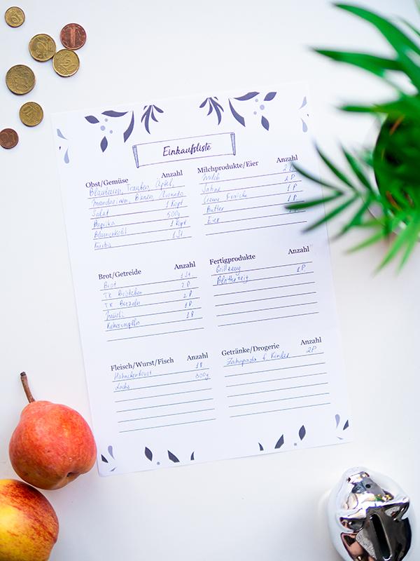 Spartipps für Familien: wie du die Einkäufe richtig planst und Geld sparst mit Vorlagen für Einkaufsliste Menüplaner Wunschliste Geld sparen als Familie