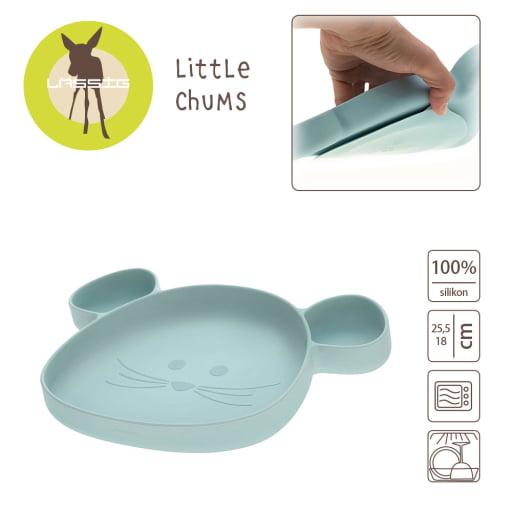 """LASSIG prilimpanti silikoninė lėkštė """"Little Chums Mouse Blue"""""""