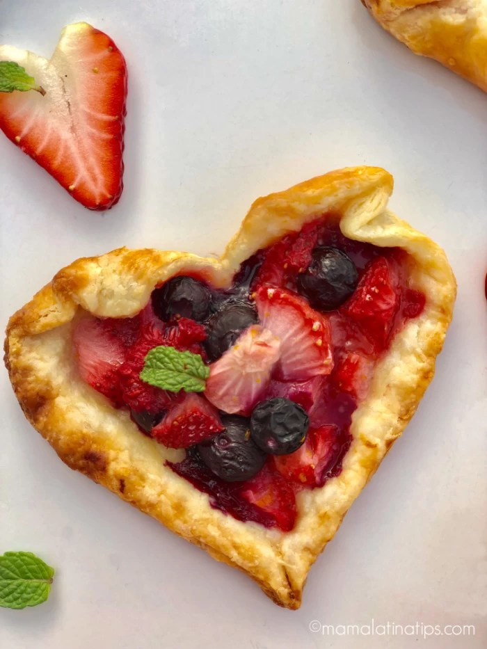 A heart shaped berry tart