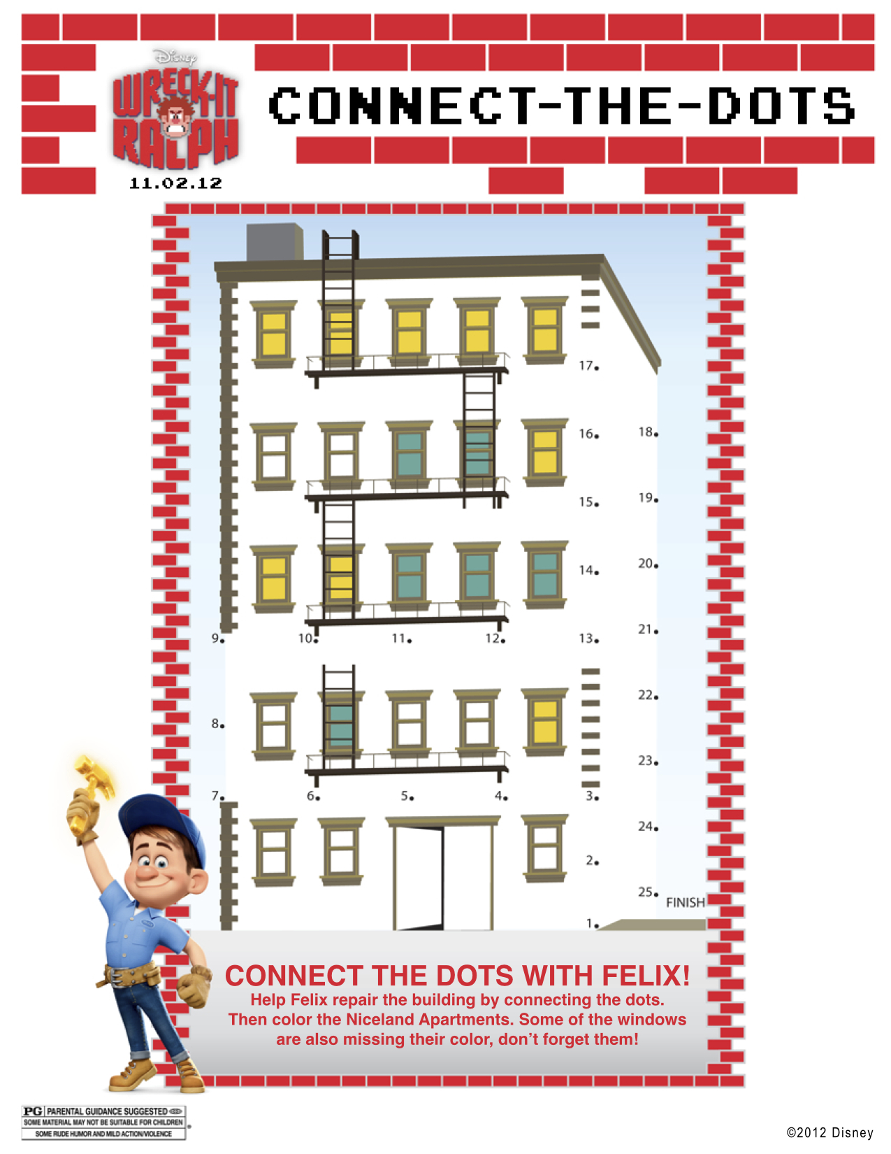 Wreck It Ralph Printable Connect The Dots With Felix