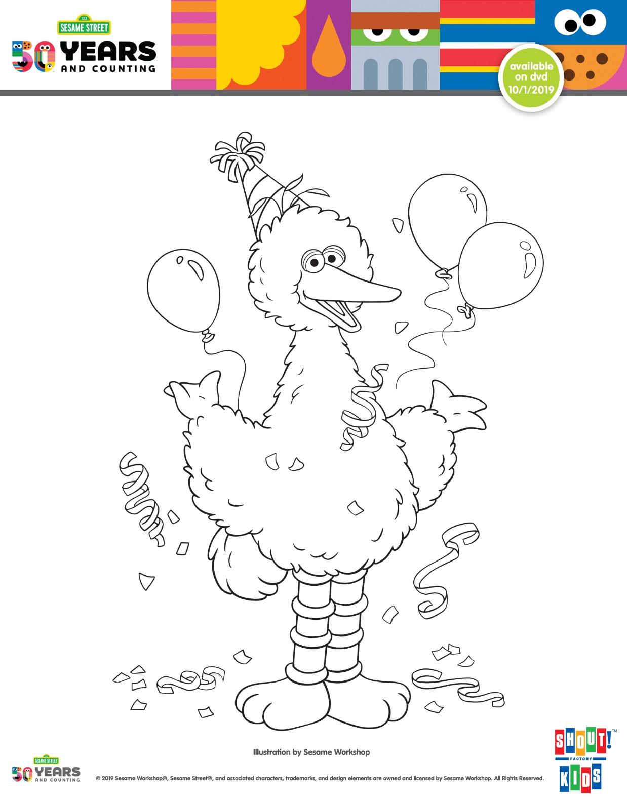 Free Printable Big Bird Birthday Coloring Page Mama Likes This