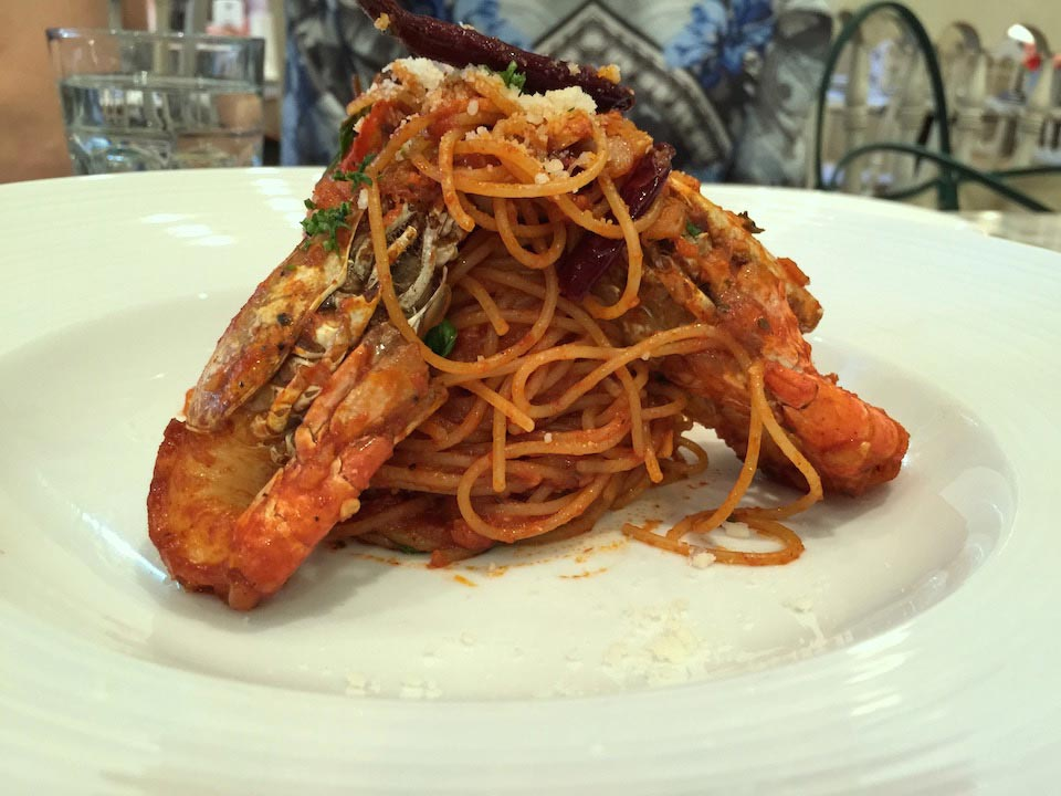 Spicy Dry Chili Spaghetti with River Prawn