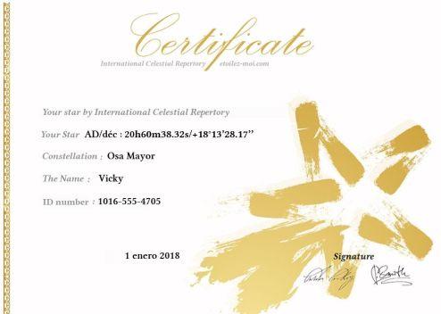 Certificado de la estrella