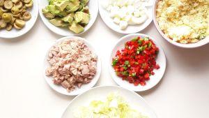 Ingredientes listos para mezclar.
