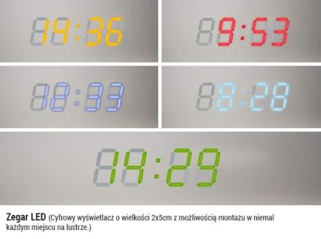 zegar led, lustro, łaazienka