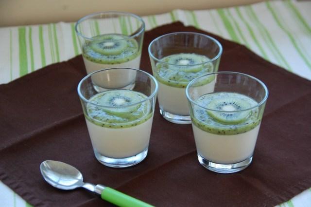 Crème au lait de coco et coulis de kiwi
