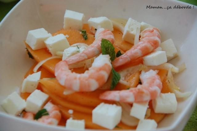 salade melon, feta et crevettes