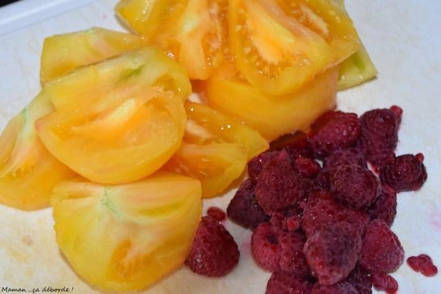 Verrine tomate, framboise et coco