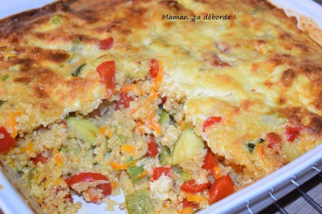 Gratin quinoa, courgette et poivron