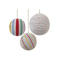 Boules en papier décoratives à rayures - Meri Meri