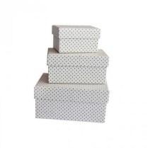 Set de 3 mini boîtes gigognes pois Ginkgo blanc