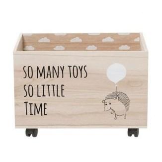 Coffre jouets en bois à roulettes, Bloomingville